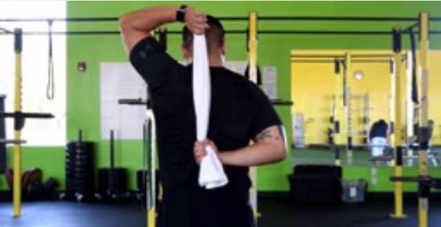 Shoulder Stretch by a Towel
