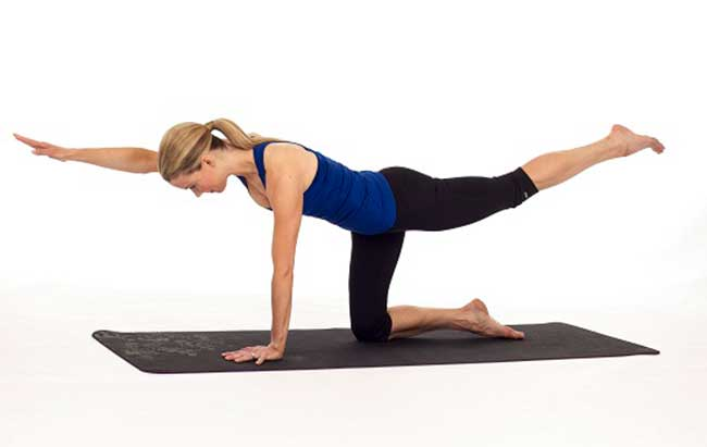 Bird dog pose for runners