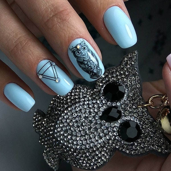 Cute Owl Geometric Nail Art Design