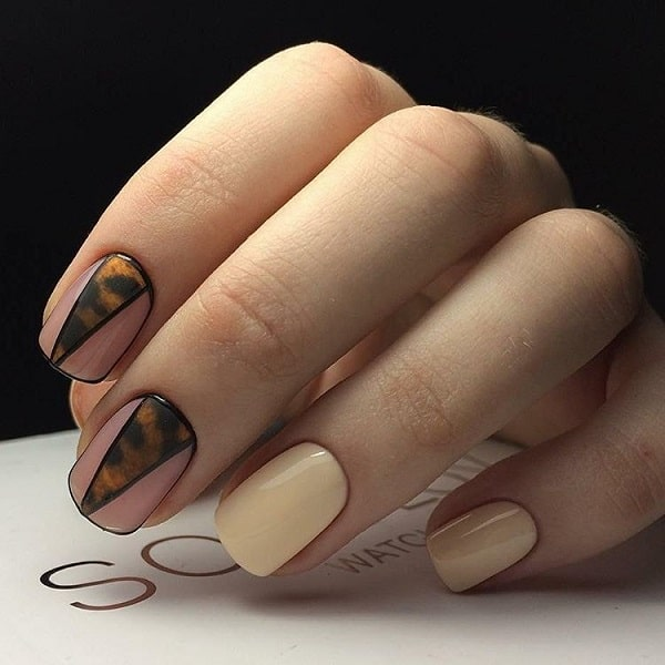 Geometric Nail Art with Nudes