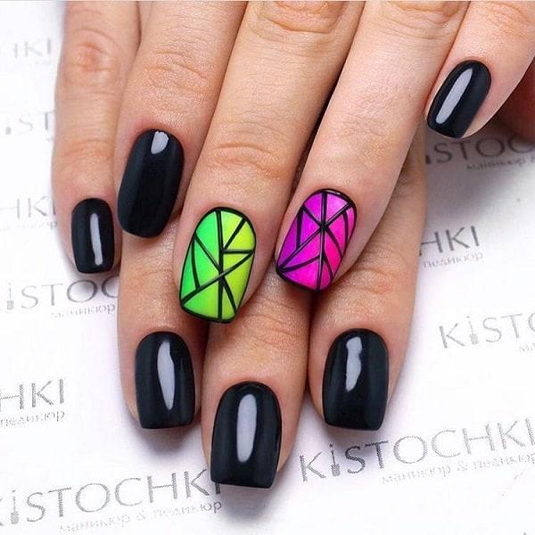 Glossy- Matte Geometric Nail Art Combo