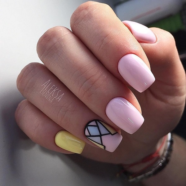 Glossy Nude Geometric Nail Art