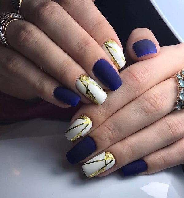 White and Gold Geometric Nail Art